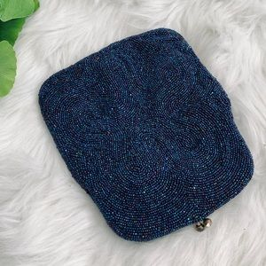 Vintage | Blue Beaded Clutch Purse Bag Kiss Lock